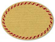 Schmucketikett Oval groß 77x58mm - Naturpapier Selbstklebend Motiv: Kordel  -  Farbe: bordeaux Packung á 250 Stück auf Rolle Stück
