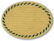 Schmucketikett Oval groß 77x58mm - Naturpapier Selbstklebend Motiv: Kordel  -  Farbe: grün Packung á 250 Stück auf Rolle Stück