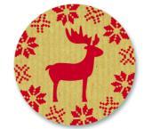 Schmucketikett Rentier 40x 40mm - Naturpapier Selbstklebend Farbe: rot Packung á 250 Stück auf Rolle