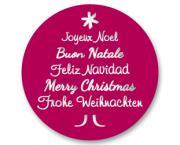 Schmucketikett Merry Christmas 40x 40mm - silber matt Selbstklebend Farbe: bordeaux Packung á 250 Stück auf Rolle Stück