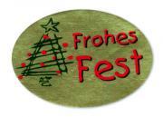 Schmucketikett Frohes Fest 46x 32mm - gold matt Selbstklebend Farbe: rot/grün Packung á 250 Stück auf Rolle Stück