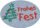 Schmucketikett Frohes Fest 46x 32mm - silber matt Selbstklebend Farbe: rot/grün Packung á 250 Stück auf Rolle