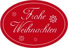 Schmucketikett Frohe Weihnachten 46x 32mm - rot matt Selbstklebend Farbe: silber Packung á 250 Stück auf Rolle