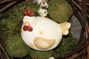 Keramik-Huhn 13 x 10 x11 cm natur mit Blumendekor 1 Karton à 3 Stück
