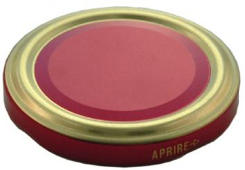 Deckel TO53 rot/gold Nicht für ölhaltige Inhalte geeignet! Beutel à 100 Stück