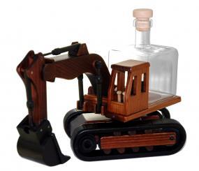 Bagger Holzauto mit Glastank 350ml braun