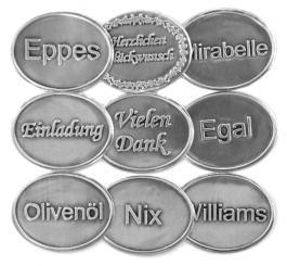 Zinnetiketten - Oval 45x35 - Olivenöl