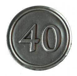Zinnetiketten - Rund 30mm - Zahl 40
