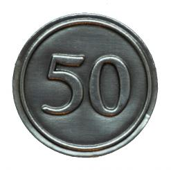 Zinnetiketten - Rund 30mm - Zahl 50