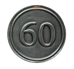 Zinnetiketten - Rund 30mm - Zahl 60