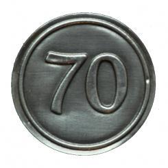 Zinnetiketten - Rund 30mm - Zahl 70 Stück