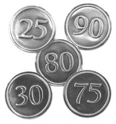 Zinnetiketten - Rund 30mm - Zahl 80