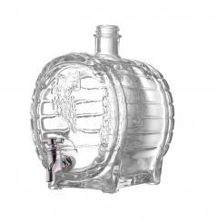 Faßflasche 1500ml weiß mit Hahn inkl. GCMI400/28 schwarz Kunststoff