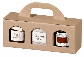 3er Tragekarton Lino Vario Nr. 30, natur - Pack à 20 Stück - für 3 Gläser klein, Leinenoptik, 250x80x90 mm