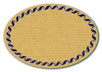 Schmucketikett Oval klein 54x37mm - Naturpapier Selbstklebend Motiv: Kordel  -  Farbe: blau Packung á 250 Stück auf Rolle Stück