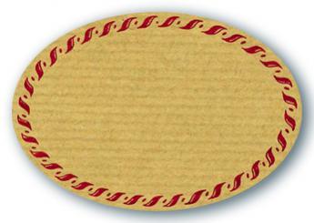 Schmucketikett Oval klein 54x37mm - Naturpapier Selbstklebend Motiv: Kordel  -  Farbe: bordeaux Packung á 250 Stück auf Rolle