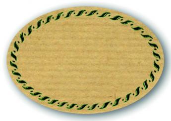 Schmucketikett Oval klein 54x37mm - Naturpapier Selbstklebend Motiv: Kordel  -  Farbe: grün Packung á 250 Stück auf Rolle