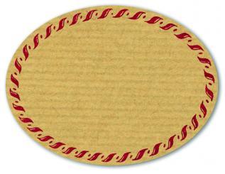Schmucketikett Oval groß 77x58mm - Naturpapier Selbstklebend Motiv: Kordel  -  Farbe: bordeaux Packung á 250 Stück auf Rolle