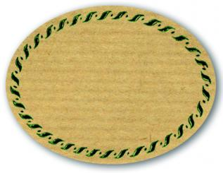 Schmucketikett Oval groß 77x58mm - Naturpapier Selbstklebend Motiv: Kordel  -  Farbe: grün Packung á 250 Stück auf Rolle