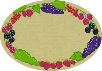 Schmucketikett Oval klein 65x45mm - Naturpapier Selbstklebend Motiv: Beeren  -  Farbe: bunt Packung á 250 Stück auf Rolle
