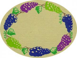 Schmucketikett Oval groß 77x 58mm - Naturpapier Selbstklebend Motiv: Traube  -  Farbe: bunt Packung á 250 Stück auf Rolle