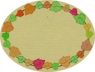 Schmucketikett Oval groß 77x 58mm - Naturpapier Selbstklebend Motiv: Weinblätter  -  Farbe: bunt Packung á 250 Stück auf Rolle