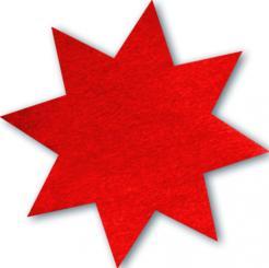 Schmucketikett Stern klein 27x 27mm - rot glänzend Selbstklebend Packung á 250 Stück auf Rolle Stück