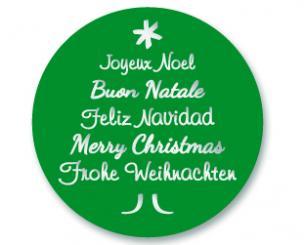 Schmucketikett Merry Christmas 40x 40mm - silber matt Selbstklebend Farbe: grün Packung á 250 Stück auf Rolle