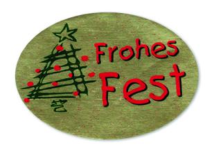 Schmucketikett Frohes Fest 46x 32mm - gold matt Selbstklebend Farbe: rot/grün Packung á 250 Stück auf Rolle
