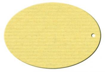 Anhängekarte Oval hoch, gelocht 65x45mm - Naturpapier Karton Packung á 50 Stück