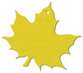 Anhängekarte Weinblatt 81x93mm - Karton gelbgold Packung á 50 Stück
