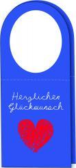 Klapp-Flaschenanhänger - Herzlichen Glückwunsch - 120x143mm (geöffnet) blau Packung á 25 Stück