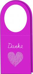 Klapp-Flaschenanhänger - DANKE - 120x143mm (geöffnet) pink Packung á 25 Stück