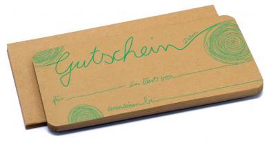 Gutschein mit Umschlag 210x100mm Naturpapier mit Druck abstrakt in türkis Packung á 40 Stück