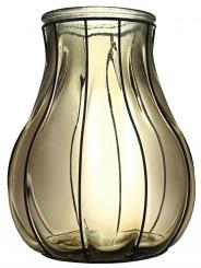 Windlicht Glas rauchgrau im Drahtgestell