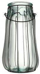 Windlicht Glas weiß mit Drahtgestell