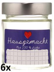 """6er Folienpack - Weithalsglas Vaso Plus 156 ml weiß inkl. TO58 Deep silber und Etikett """"Hausgemacht"""" in blau (65x40 mm)"""