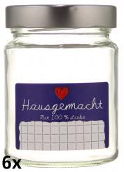 """6er Folienpack - Weithalsglas 275ml weiß inkl. TO66 Deep silber und Etikett """"Hausgemacht"""" in blau (65x40mm) Stück"""