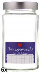 """6er Folienpack - Weithalsglas 409ml weiß inkl. TO66 Deep silber und Etikett """"Hausgemacht"""" in blau (65x40mm)"""