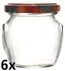 6er Folienpack - Weithalsglas Orcio 106ml weiß inkl. TO53 Fruchtmotiv