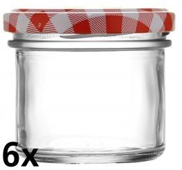 6er Folienpack - Sturzglas 125ml weiß inkl. TO66 rot/weiß Karo