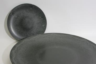 Teller in Zinnoptik, Kunststoff/randlos d33cm