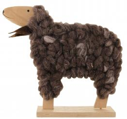 Schaf braun meliert Holz 31 x 25 x 6cm