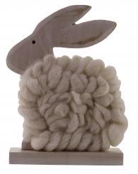 Hase aus Holz mit creme farbener Wolle 16,5 x 12 x 5cm Stück