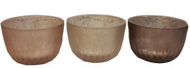 Teelichtglas 3fach sortiert rosa / braun / schlamm d8 x 5 cm 6er Pack