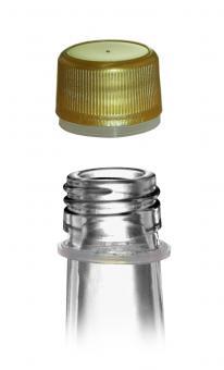 Schraubverschluss Kunststoff gold PP24 mit Sicherungsring Beutel à 100 Stück
