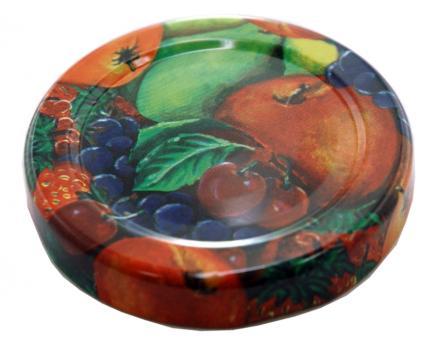 Deckel TO48 Fruchtmotiv mit Button - Nicht für ölhaltige Inhalte geeignet! Beutel à 100 Stück