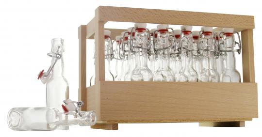 Holzsteige mit 24 x Kropfhals 40ml  oder Weinbrand 40ml inkl. Bügelverschluss, unmontiert inkl. Schmucketikett Adventskalender rot/weiß selbstklebend 1-24 Stück