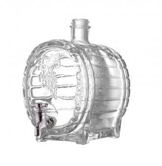 Faßflasche 1500ml weiß mit Hahn inkl. GCMI400/28 schwarz Kunststoff Stück