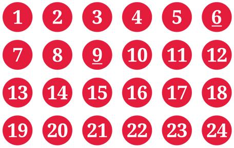 Schmucketikett Adventskalender rot/weiß - Bogen mit Ziffer 1-24 - Durchmesser: 15mm Stück